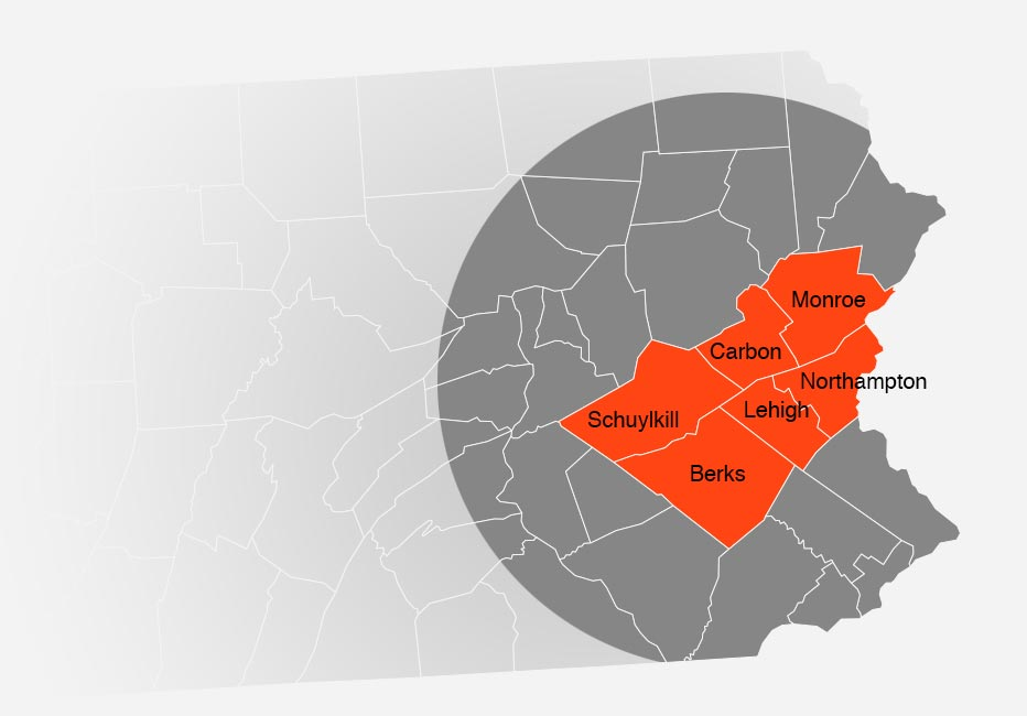 Areas Serviced in and around the Lehigh Valley